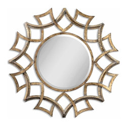 Uttermost - Demarco Antiqued Gold Round Mirror - This ornate mirror features an antiqued gold finish with a light gray glaze and burnished edges. Mirror has a generous 1 1/4 inch bevel.