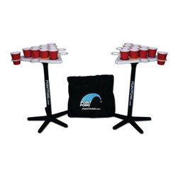 """Point Pong - Beer Pong Table - Have you ever played a game of Beer Pong and in the middle of the game the cups got blown off the table? Maybe liquid spilled all over the place? Well, that wont happen with Point Pong. Each cup is recessed into its own holder keeping the cups secure and stable. Point Pong eliminates you from having to drag out a heavy table, take a door off its hinges, or find something else to play on. Point Pong offers the same fun, competitive game as Beer Pong and has many advantages over a traditional Beer Pong table. It is portable, lightweight, floatable, and has a variety of ways it can be played. Pong can be transformed into a floating Beer Pong table which is perfect for lounging in the pool on a hot summer day. Point Pong comes in a storage bag and everything you need to play. The colored rings can be used as a point game and can be interchanged for a variety of looks. The game can be adapted for young and old to enjoy. Point Pong is a party game, a college game, and a family game. Features: -Comes with carry bag with handles and detachable shoulder strap. -Floating Tables Allow For Great Pool or Lake Play. -Two sturdy nylon bases. -Two strong plastic legs. -Two multifunctional tops. -Eight side cup holders. -20 colored rings. -22-16oz cups. -6 balls. Dimensions: -Triangular Top: 20"""". -Base Diameter: 20"""". -Carrying Bag Dimensions: 22.57x7.5x20.5."""