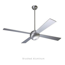 "Modern Fan - Modern Fan Ball ceiling fan - The Ball ceiling fan was designed by Ron Rezek for The Modern Fan Co. The Ball fan is a clear expression of The Modern Fan Co.'s roots, derived from a minimalist approach to ceiling fan design. A perfect sphere provides visual simplicity while housing all the components required for exceptional air movement. The Ball includes 3 standard down-rods, 3"", 6"", 16"", yielding overall lengths of 11"", 14"", & 24"", respectively. Please call for additional lengths.   Product Details:    The Ball ceiling fan was designed by Ron Rezek for The Modern Fan Co. The Ball fan is a clear expression of The Modern Fan Co.'s roots, derived from a minimalist approach to ceiling fan design. A perfect sphere provides visual simplicity while housing all the components required for exceptional air movement. The Ball includes 3 standard down-rods, 3"", 6"", 16"", yielding overall lengths of 11"", 14"", & 24"", respectively. Please call for additional lengths.       Manufacturer:     The Modern Fan Company      Designer:    Ron Rezek      Made in:    USA      Dimensions:     Height: 14"" (35.6 cm) X Blade Span: 42"" (106.7 cm) or 52"" (132.1 cm)      Light Bulb:    1 X 75W Halogen or 1 X 18W Energy Saving CFL"