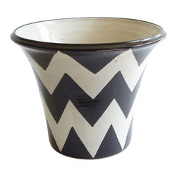 Zigzag Planter, Black/White - That favorite jade plant now has a new home: This planter adds a pop of bold color and pattern with its zigzagging chevron stripes. Place it on a patio, deck or in the garden to hold your potted plants.