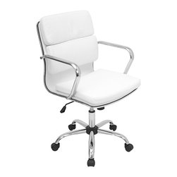 "Lumisource - Bachelor Office Chair, White - 23.5"" L x 23"" W x 36.5 - 40.25"" H"