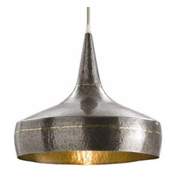 "Arteriors - Arteriors Home - Mason Wide Pendant - 42414 - Arteriors Home - Mason Wide Pendant - 42414 Features: Mason Collection Pendant Mixed metal hammered iron pendent with dark silver exterior accented with brass stripesSilver mesh cord Dark Silver Brass-Silver Mesh Cord Some Assembly Required. Dimensions: H 12 1/2"" x 14"" Dia"
