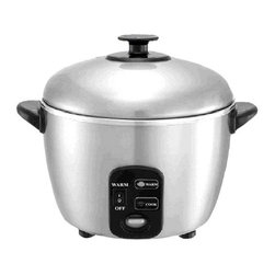 SPT Appliance - Sunpentown 3 Cups Stainless Steel Rice Cooker - The Sunpentown rice cooker uses the power of steam to cook healthy foods that maintain their color and nutrients as they cook.  Simple one-button operation efficiently cooks rice, vegetables, soup, and more, saving you in energy costs.  Stainless steel design is modern and stylish, and the compact design takes up very little counter space.  Once you use it, you'll wonder how you ever got along without this handy appliance. 100% Stainless steel inner pot and cover. Easy one-button operation. Automatically switches to Warm (when Warm mode is turned on). Healthy cooking: cooks with steam to maintain nutrients. Saves up to 18% in energy costs. ETL. Capacity: 3 cups / 0.54 liters. Input voltage: 120V / 60Hz. Power consumption: 30W (warm) / 535W (cook). 7.9 in. W x 9.75 in. D x 8.9 in. H (3.5 lbs.)This stainless steel rice cooker and steamer offers multi-functional cooking options: cooks rice and porridge, stews soup, steams vegetables, fish and poultry, and much more - all with a simple touch of a button. Cooks with steam to maintain nutrients for a healthy lifestyle. Stainless steel components: body, cover and inner pot. Features automatic shut-off and independent Warm switch.