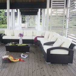 Bongo Collection Outdoor Sectional Sofa - The Bongo Collection outdoor wicker section sofa can create a straight line sofa, L-shaped or U-shaped seating. A matching coffee table and arm chair are also available.