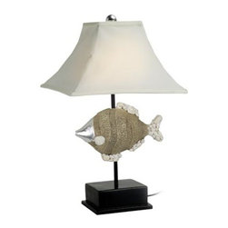 "Fish Lamp - The fish lamp is available in size 7.5"" x 6.5"" x 24"". It features a decorative fish made of poly-stone mounted in the center of the lamp  attached to a sturdy base. It will add a definite nautical touch to wherever it is placed and is a must have for those who appreciate high quality nautical decor. It makes a great gift, impressive decoration and will be admired by all those who love the sea."