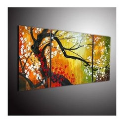 Hand-painted Plum Tree Abstract Oil Painting - Set of 3 - Buy Cheap Hand-painted Plum Tree Abstract Oil Painting - Set of 3 at Oilpainting-shop.com
