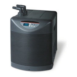 "Aqua Euro - 1 HP Aquarium Chiller - Digital LCD Display. High BTU rating (heat removal). Titanium heat exchanger. Quiet operation-rubber mounts reduce vibration. Powerful compressor. Uses DuPont R134a ozone friendly Freon. Includes fittings and instructions for easy set up. 1 1/4"" Inlet/Outlet Fittings. 15.8 in. W x 20.5 in. L x 24 in. HTitanium Chillers for use with Freshwater & Saltwater Aquariums. High quality, durable, reliable and ultra compact design."