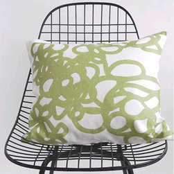 Area - Area Daisy Printed Linen Pillow - Soft graphic loops. Grey and Green printed on off white pure linen with feather & down-filled insert. The bed linens are from a company called Area out of New York. Their products are designed by Anki Spets, with carefully chosen colors, one of a kind patterns and subtle details to create unique options.