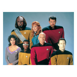 Oriental Furniture - Star Trek: The Next Generation Wall Art - Fans of the 1980s-90s series Star Trek: The Next Generation will love this full color photo of the outstanding cast, featuring Capt. Picard, Comdr. Riker, Lt. Data, Lt. La Forge, Lt. Worf, Counselor Troi and Dr. Crusher. The authentic, authorized image is reproduced onto artist quality canvas using giclee style technology and stretched onto a mitered wood frame.