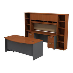 """BBF - BBF Series C 72"""" Bow Front Desk with Credenza with Hutch and Bookcases - BBF - Computer Desks - SRC0010AUSU - The complete office in one convenient bundle. Combining the BBF Series C 72"""" Bowfront Desk 72""""W Credenza 72""""W 4-Door Hutch (2) 18""""W 5-Shelf Bookcases 2-Drawer Mobile Pedestal (F/F) and 3-Drawer Mobile Pedestal (B/B/F) creates the ultimate in professional workspace storage and display. The 72""""W Bowfront Desk creates a large workspace with comfortable seating for guests while the wire management system keeps the desktop clear of cables and wires through desktop grommets and wire channels. The 72""""W Credenza accepts the 72""""W 4-Door Hutch adding concealed storage with Euro-style self closing hinges for a soft close and six open work-in-progress trays. A fabric covered tack board on the Hutch creates even more organizational space while the Mobile Pedestal units fit neatly under the desktop adding two box drawers and three file drawers. The two box drawers offer storage for office supplies and three file drawers accommodate letter legal and A4 size files. Each drawer operates on full-extension ball bearing slides to allow full access and is accented by contemporary brushed nickel hardware. Two 18""""W 5-Shelf Bookcases complete this office with additional storage and display space. With a finish to match any decor additional BBF Series C pieces allow for additional configurations as your needs evolve and grow. Solid construction meets ANSI/BIFMA test standards in place at time of manufacture; this product is American Made and is backed by BBF 10-Year Warranty."""