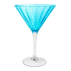 Artland Inc. Turquoise Cambria Martini - Set of 4 - We're shaken and stirred over the easy elegance of the Artland Inc. Turquoise Cambria Martini - Set of 4. The clear stem and base add a classic complement to the turquoise-hued glass, while the white-dotted lines add a little whimsy. The glasses come packaged as a set of four, and they're dishwasher safe, too.About ArtlandA privately owned manufacturing company, Artland designs, produces, and markets a range of products for the tabletop and home fashion industries. Their product line focuses on mouth-blown glassware, ceramic tableware, aluminum serveware, and stainless steel barware. Artland was founded in 1996 and maintains showrooms in New York City, Beijing, Xian, and Guangzhou. Their products are sold worldwide through multiple channels and they are often featured trade publications such as Tableware Today, HFN, Homeworld Business, and Kitchenware News Today.