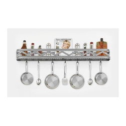 Hi-Lite MFG - Sonoma Wall Rack in Satin Steel Finish - Includes six pot rack hooks. Accessories not included. Made from steel. Projection: 6.5 in.. Overall: 46 in. L x 5 in. HHi-Lite achieved success through attention to detail and stubbornness to only manufacturer the highest quality product. Hi-Lite has built its reputation as a premier lighting manufacturer by using only the finest raw materials, inspirational designs, and unparalleled service. This allows us great flexibility with our designs as well as offering you the unique ability to have your custom designs brought to light.
