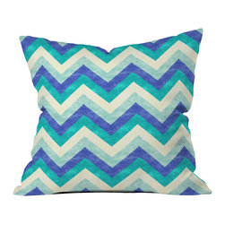 DENY Designs - Jacqueline Maldonado Chevron Ocean Throw Pillow - Wanna transform a serious room into a fun, inviting space? Looking to complete a room full of solids with a unique print? Need to add a pop of color to your dull, lackluster space? Accomplish all of the above with one simple, yet powerful home accessory we like to call the DENY throw pillow collection! Custom printed in the USA for every order.