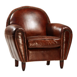 Rounded Back Leather Club Chair - Rounded Back Club Chair Covered in Vintaged Leather with Nailhead Detail