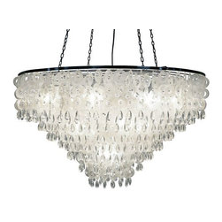Kouboo - Icicle Capiz Chandelier - Total height with hanging chain 66 inches.