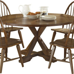 Liberty Furniture - Liberty Furniture Hearthstone 60 Inch Round Drop Leaf Dining Table in Oak, Mediu - Everyone is drawn to the past, a simpler time, a simpler way of life. Hearthstone draws it's inspiration from the past with a true and honest design. With vintage appeal, Hearthstone is a casual, rustic style that never goes out of fashion. Elements of shaker and craftsman designs are combined with a rustic oak finish and accents of slate. What's included: Dining Table (1).