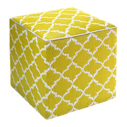 Fab Habitat - Tangier Pouf, Celery & White - Scatter these handy cubes indoors or out as extra seats or side tables. They're handmade from recycled polypropylene and filled with polystyrene, for long-lasting comfort and color retention. The stylized Moroccan design adds an exotic touch to the pool, patio or playroom, and the cubes stack for easy storage.