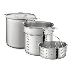 All-Clad - All-Clad 12 Qt. Multi Cooker - Heavy guage, stainless steel stock pot can be used alone for large-batch cooking of soups and stocks, or with one or both inserts. Use the basket to steam broccoli over noodles boiling in the pasta insert for a truly one-pot meal. Riveted stainless steel handles on stock pot and insert provide safe and easy handling. Lid traps heat and steam.  Finest-quality, highly-polished 18/10 stainless steel Easy to clean stainless will not react with food Single ply Easy grip riveted loop handles Stainless pasta insert and stainless steamer insert included Made in China 12 quart capacity.