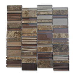 "GlassTileStore - Rapids Pattern Coconut Birch Glass and Stone Tile - Rapids Pattern Coconut Birch Glass and Stone Tile             This warm, earth toned tile is a combination of polished glass and natural stone pieces in varied width and lengths, blended together on a mesh backing. It brings a rustic colour palette of stone together with the sleek reflectivity of brown shaded glass.   Please note that we use naturally ocurring stones therefore variations in color, pattern, texture and veining will occur.  This tile is not sutiable for pool or shower installation.          Chip Size: 3"" x Random   Color: Dark Emperador, Metallic Taupe, Metallic Mahogany   Material: Glass and Stone   Finish: Polished   Sold by the Sheet - each sheet measures 12"" x 12"" (1 sq. ft.)   Thickness: 8mm   Please note each lot will vary from the next.            - Glass Tile -"