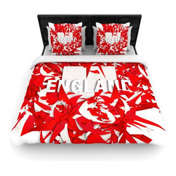 """Kess InHouse - Danny Ivan """"England"""" World Cup Cotton Duvet Cover (Queen, 88"""" x 88"""") - Rest in comfort among this artistically inclined cotton blend duvet cover. This duvet cover is as light as a feather! You will be sure to be the envy of all of your guests with this aesthetically pleasing duvet. We highly recommend washing this as many times as you like as this material will not fade or lose comfort. Cotton blended, this duvet cover is not only beautiful and artistic but can be used year round with a duvet insert! Add our cotton shams to make your bed complete and looking stylish and artistic!"""