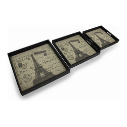 Zeckos - Set of 3 Eiffel Tower Postcard Print Decorative Nesting Trays - This set of 3 Parisian inspired trays adds a decorative accent to any table, desk or countertop. They are made of wood, have a black leatherette covering, and a burlap liner featuring an image of the Eiffel Tower and a French postcard, complete with postmarks. The largest tray measures 15.75 inches long, 15.75 inches wide and 2 inches deep, the medium tray is 13.625 inches long, 13.625 inches wide and 1.625 inches deep, and the smallest tray measures 11.925 inches long, 11.925 inches wide and 1.5 inches deep. Use them to display groups of small items, to sort mail, to serve snacks, or display on the bed in a guest room, and they make a wonderful housewarming gift