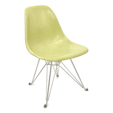 Modernica Eiffel Side Shell Chair - The Modernica Case Study Fiberglass Eiffel Chair is a classic icon and its name holds no enigma. Pick your shell and choose the wire-frame in either chrome-plated steel or black powder-coated steel for a visually satisfying chair.