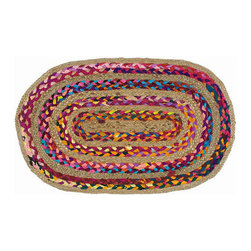 Handmade Braided Rug - This colorful rug is handmade with natural jute and colorful fabrics for a unique and striking home accent. Its oval shape makes it a great fit for the entryway, kitchen, bedroom, or anywhere else you're looking to add a splash of relaxed style.
