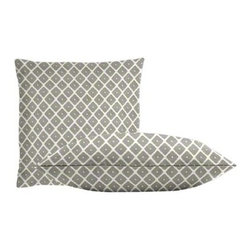 """Cushion Source - Souk Dove Throw Pillow Set - The Souk Dove Throw Pillow Set consists of 18"""" x 18"""" throw pillows featuring globally-inspired, geometric diamonds in gray on a white background."""