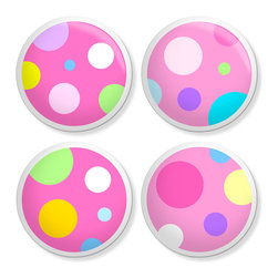 New Speed Limit - Kids Dresser Knobs - Pink Poka-Dots - Moms or Dads you can give your child's old dresser a quick inexpensive DIY makeover. Our custom-made ceramic knob sets screw on easily to most flat faced drawer fronts in minutes!  Your kid will love one of our many cool detailed fun designs you will love the traditional easy to grab clean round shape no sharp edges. Perfect !