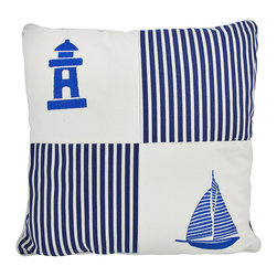 Zeckos - Nautical Navy Blue/White Canvas Throw Pillow 18 Inch - This striped blue and white canvas throw pillow is the perfect accent to your beach or nautical decor. It features striped fabric, complemented by an embroidered lighthouse in one corner, and a sailboat in the opposite corner. The pillow measures 18 inches tall, 18 inches wide, and has a removable cover for washing. This pillow looks great on beds, chairs, and couches anywhere in your home, on your porch or patio, or on your boat.