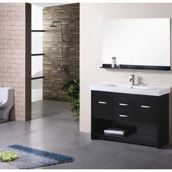 """Design Elements LLC - Citrus 48"""" Single Sink Vanity Set in Espresso - The Citrus 48"""" single-sink vanity is uniquely designed and constructed of solid hardwood. The robust edge brings a crisp clean contemporary look to any bathroom. The unique rolling and curved basin of the white rectangular sink beautifully contrasts with the sharp lines of the espresso cabinetry. This sophisticated vanity includes two center drawers and two soft-closing cabinet doors, all adorned with satin nickel finish hardware. A large open storage shelf at the bottom provides additional storage. Included is a matching framed mirror with shelf. The Citrus Vanity is designed as a centerpiece to awe and inspire the eye without sacrificing quality, functionality, or durability."""