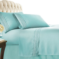 Southshore Fine Linens, Inc. - Aspen Lace - Sheet Sets - 4 PC, Sky Blue, King - Made with high strength microfiber yarns these shrinkage-free sheets are decorated with a beautiful lace. Double brushed for extra softness, these sheets feature a 110 GSM microfiber fabric to ensure a cozy feeling.