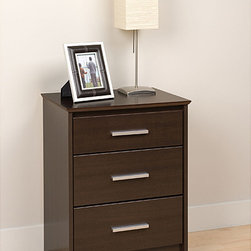 Prepac - Yaletown Tall Espresso 3-drawer Night Stand - Create more storage space with this wood espresso nightstand by Yaletown. Featuring three large drawers with shiny metal handles,this piece has an elegant design that will give a modern feel to any room and a classic look that will always be in style.