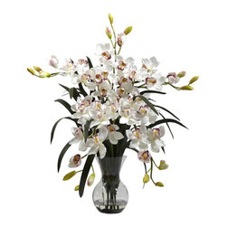 Nearly Natural - Large Cymbidium Vase Arrangement in White - Includes faux water and glass vase. An ideal blend of colors and textures. Vase: 4.5 in. Dia. x 7 in. H. Overall: 30 in. L x 24 in. W x 34 in. HDelicate yet bold, here's proof that you can't argue with Mother Nature There's no two ways around it - this vase arrangement is one of our most beautiful reproductions. Yet this proud display is softened by the delicate blooms and soft buds, which reach in every direction.