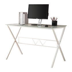 Adarn Inc. - Frosted Glass Printed World Map Top White Metal Base Computer Writing Desk Table - The world is truly at your fingertips with this white frosted glass top table desk. Lifted on sturdy white powder coated X-legs with a stretcher, it has a tempered glass table top for strength and stability. The desk top is printed with a world map in words in black, offering a cool, modern design to visually please. Enjoy a refreshing contemporary styling and simplicity to outfit your home office or living space. Accessories not included.