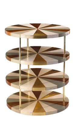 Poiroux Round Side Table - Need a new spot to rest your cocktail? Add a fantastic multicolored splash to your earth-toned living room with this retro-tiered side table. It's fun and playful without sacrificing elegance.