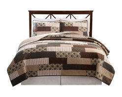 Pem America - Arcadia Full / Queen Quilt with 2 Shams - Classic patchwork quilt with darker earth tone and geometric prints.  100% Cotton, pieced face cloth and cotton rich fill make this quilt a casual and comfortable addition to your home. Full / Queen Quilt (86x86 inches) and 2 pillow shams (20x26 inches).