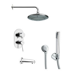 Remer - Round Tub and Shower Faucet Set with Handheld Shower - Multi function tub and shower faucet.
