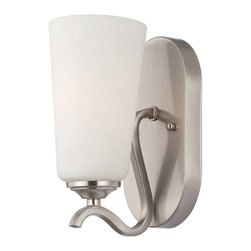 Savoy House - Charlton 1-Light Sconce - The Charlton collection from Savoy House is like no other, featuring a or satin nickel finish crafted with curves and white etched glass for a soft, beautiful glow.
