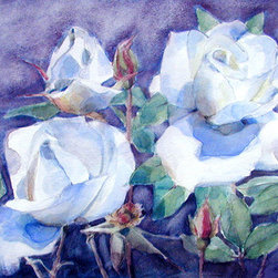 """White Roses On Blue Field"" (Original) By Greta Corens - Watching Them, They Daintily Yelled Blue At My Brush."