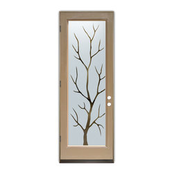 Sans Soucie Art Glass (door frame material Plastpro) - Glass Front Entry Door Sans Soucie Art Glass Branch Out - Sans Soucie Art Glass Front Door with Sandblast Etched Glass Design. Get the privacy you need without blocking the light, thru beautiful works of etched glass art by Sans Soucie!  This glass is semi-private.  (Photo is view from outside the home or building.)  Door material will be unfinished, ready for paint or stain.  Bronze Sill, Sweep and Hinges. Available in other sizes, swing directions and door materials.  Dual Pane Tempered Safety Glass.  Cleaning is the same as regular clear glass. Use glass cleaner and a soft cloth.