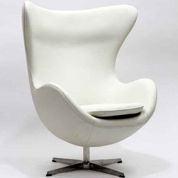 Modway - Glove Chair In White Aniline Leather - Eei-528-Whi - High Density Foam Cushioning