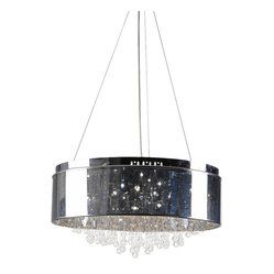 Bromi Design - Bromi Design Juniper 6-Light Chrome Pendant - Like a pretty patch of starry sky over your entryway or dining table, this dreamy pendant is celestial and stunning. A silver cylinder outfitted with six lights and dripping with brilliant crystals, it's out-of-this-world chic.