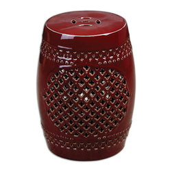 Uttermost - Uttermost 24603  Peizhi Ceramic Garden Stool - An ancient eastern classic, this bold, oxblood red garden stool makes a rich room accent in hand cut ceramic with natural clay undertones.