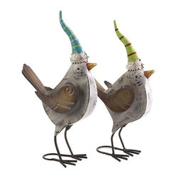 """IMAX - Woodland Vintage Metal Cardinals - Set of 2 - This festive set of two Woodland vintage cardinals have their celebratory stocking caps on ready for good tidings and the warmth of holiday cheer. Item Dimensions: (17.5-19""""h x 5""""w x 11-10.5"""")"""