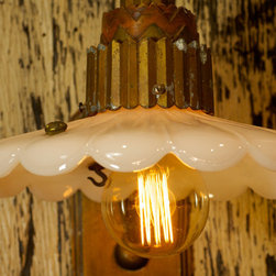 Antique Art Deco Sconce with Milk Glass Shade - This is a large Deco sconce that when we found it, it had a broken up shade. The sconce was probably an exterior building light and had been stored in a barn for years and years. We removed the broken shade and found a period appropriate glass shade that complements the large sconce beautifully. Finished off with Edison style bulb, cloth cord and vintage inline switch.