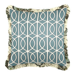 """Aqua Modern Trellis Custom Pillow - Sweet, sassy or sultry, our Ruffle Throw Pillow is the perfect accent to decor with a feminine flair. A hopeless romantic?  Customize with soft colors or tiny prints.  Feeling glamorous?  A metallic or bright solid will make your room say va-va-voom""""."""