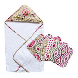 Trend Lab LLC - Waverly Baby Jazzberry Bouquet Hooded Towel and Wash Cloth Set Multicolor - 7123 - Shop for Towels from Hayneedle.com! Make bath time cozy and cute with the Trend Lab Waverly Jazzberry Bouquet Hooded Towel and Wash Cloth Set. The five wash cloths have soft terry cloth on the back and fun cotton prints on the front in three coordinating patterns: a floral print pink spots and an optical design. The color palette is marshmallow white carmine and cerise pink moss green Abbey stone and dune sand. The generously sized hooded towel is soft white terry cloth with a coordinating floral border. The entire set is machine washable for your convenience. Coordinating Jazzberry bedding drapes and nursery accessories are sold separately.About WaverlyWaverly launched in 1923 and grew to be a premier home fashion and all-encompassing lifestyle brand. They're now one of the most recognized names in home furnishings. With a signature look that's expertly translated into countless classic styles among home furnishing products their assortment includes wall coverings paint bedding window treatments decorative accessories and other key products.