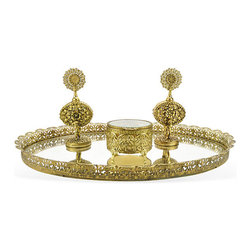 Consigned Antique Gilt Dresser Set With Tray - Vintage four-piece filigree brass dresser set consisting of a pair of perfume bottles, footed round dresser box, and mirrored oval dresser tray.