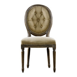 Louis Side Chair- Buttoned Hemp - Inspired by Vintage French classicism, remarkable comfort and substantial craftsmanship. Classic in every detail, 100% eco-style hemp tailored with hand-hammered shoe nails. The oak wood is first sanded and then a wire brush is used to raise the grain. A matte finish is then applied.